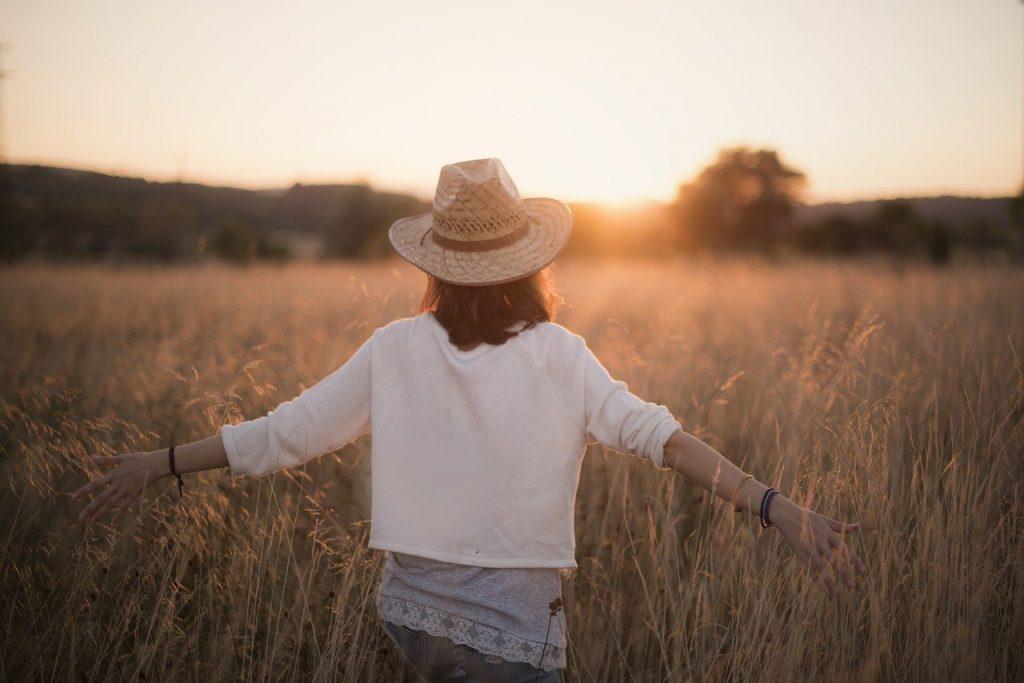 sunset, woman, freedom